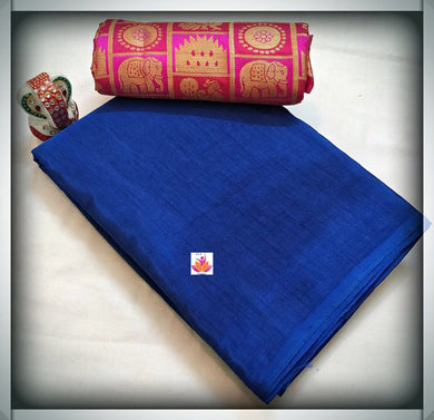 Awesome Blue And Pink Silk Saree With Designer Blouse