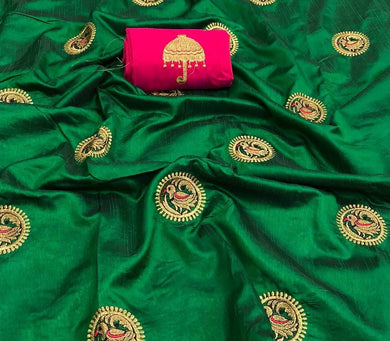 Awesome Green And Pink Color Sana Silk Saree With Blouse