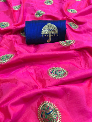 Designer Pink And Blue Color Sana Silk Saree With Blouse