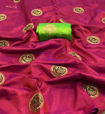 New Look Pink And Green Color Sana Silk Saree With Work Blouse