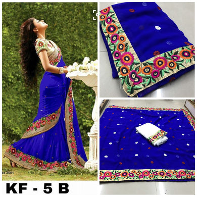 Designer Blue Georgette Embroidery Saree With Blouse