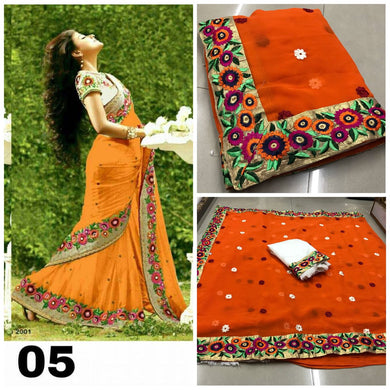 Beautiful Orange Georgette Embroidery Saree With Blouse