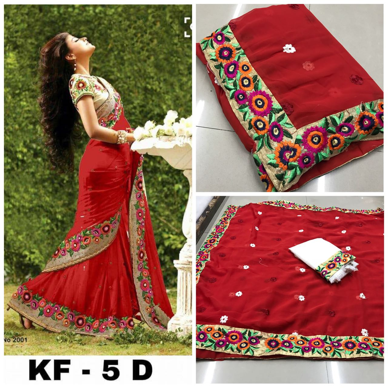 f0d69b7212 Fabulous Red Georgette Embroidery Saree With Blouse – SAREEU™