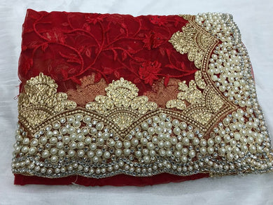 Designer Maroon Embroidery Saree With Stone And Pearl Work