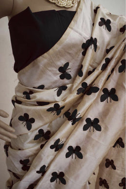 Awesome Black Color Butterfly Design Work Saree With Blouse