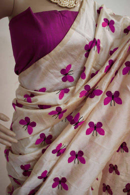 Designer Pink Color Work Saree With Blouse