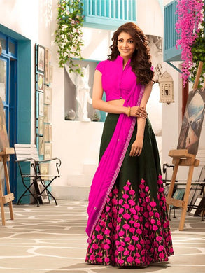 Attractive Pink And Black Banglori Silk Saree With Blouse
