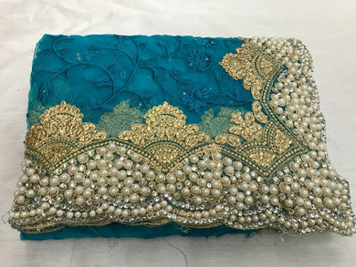 Beautiful Firozi Embroidery Pearl And Stone Saree With Blouse