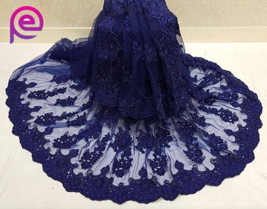 Awesome Navyblue Naylon Net With Thread Embroidery Work