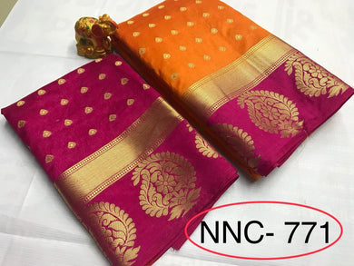 Awesome Orange And Pink Color Tussarsilk Saree With Blouse