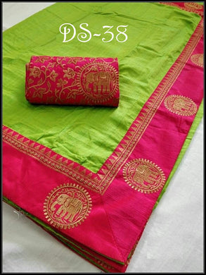 Amazing Green And Pink Color Sana Silk Embroidery Saree