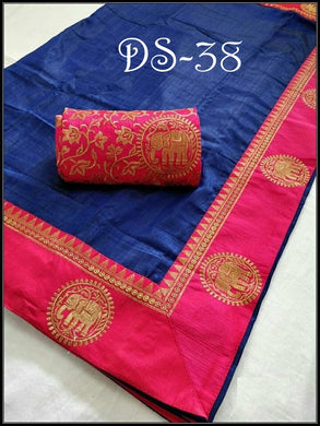 Attractive Blue And Pink Color Sana Silk Saree With Blouse