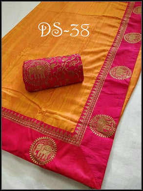 Beautiful Yellow And Pink Color Sana Silk Embroidery Saree With Blouse