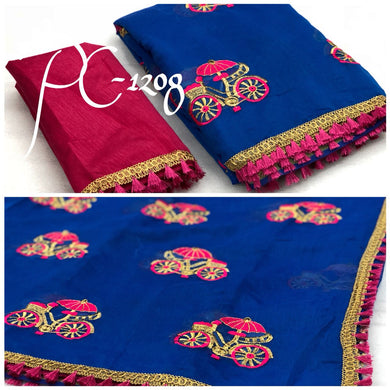 Designer Blue And Pink Chanderi Cotton Embroidery Saree With Blouse