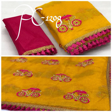 Embroidery Yellow And Pink Cycle Design Saree With Blouse