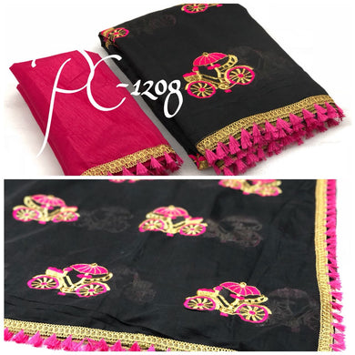 Awesome Black And Pink Cycle Embroidery Saree With Blouse
