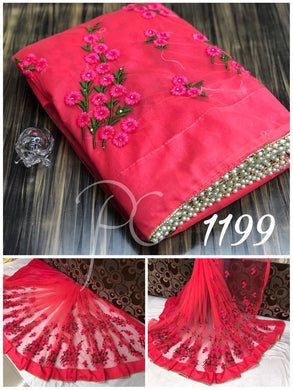 Attractive  Pink  Pure  Mono  Net  Embroidery  Saree  With  Blouse