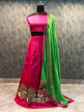 Attractive Pink And Green Indian Embroidery Work Choli With Dupatta