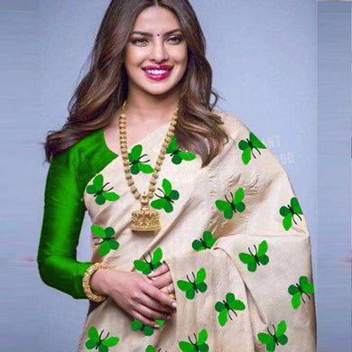 Priyanka Chopra Hollywood Star Green Titli Design Saree With Blouse