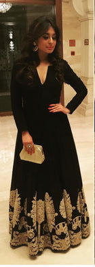 Black Colored Banglori Silk Party Wear Gown