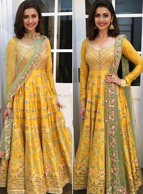 Yellow Colored Havy Bengalory Gown