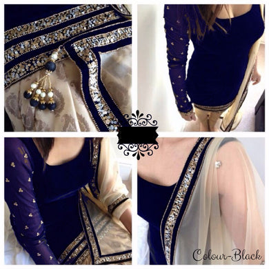 Navy Blue Color Velvet Patiyala With Sequence Lace Duppatta