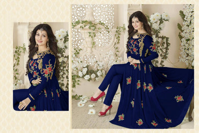 Beautiful Designer Fantastic Gwon Dark Blue Georgette Embroidered Long Anarkali Suit .