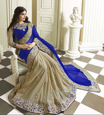 Attractive Designer Blue  Cream Lycra  Georgette Embroidered Amazing Saree