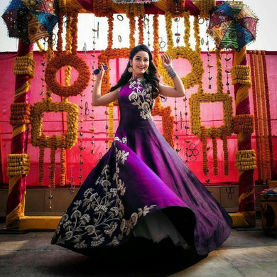 Purple Colour Designer Taffeta Silk Semistiched Gown