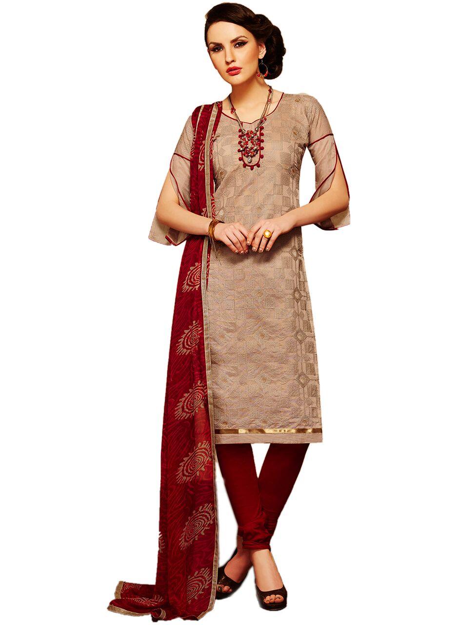 ac4907dd2a Brown Embroidered Cotton Salwar Suit With Dupatta – SAREEU™