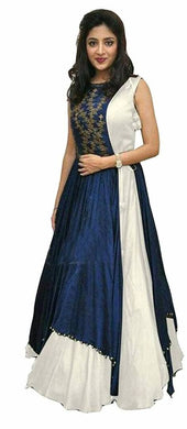 Blue And White Taffeta Silk Semistiched Gown