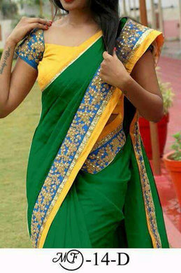 Amazing Green Color Chanderi Cotton Saree With Sequence Coding Lace