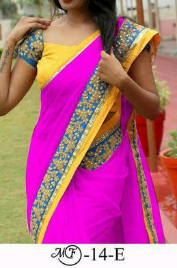 Amazing Pink Color Chanderi Cotton Saree With Sequence Coding Lace