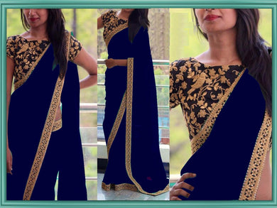 Blue Color Appealing New Attractive Designer Sequance And Thread Work Georgette Partywear Saree