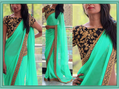 Green Color New Ravishing Attractive Designer Sequance And Thread Work Georgette Partywear Saree