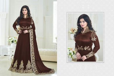Attractive Lace Broder Designer Groovy Anarkali Suit Coffee Georgette Embroidered Long Anarkali  .