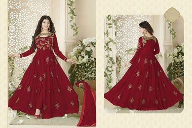 Fesival Special Amazing Designer Gwon Maroon Georgette Embroidered Long Anarkali Suit .