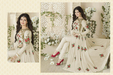 New Arrival Elegant Popular Gwon White Georgette Embroidered Long Anarkali Suit .