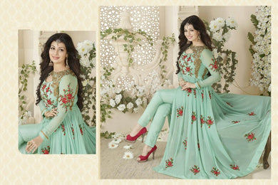 Glamorous Attractive Designer Gwon Powder Blue Georgette Embroidered Long Anarkali Suit .