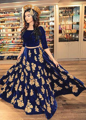 Evanescent Navy Blue Georgette Embroidered Long Arakali Suit