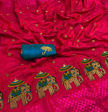 Pinkcolor Latest-new-designer-sana-silk-saree-with-embroidery-work- Saree