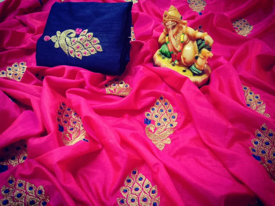 57ddff810d23d Pink Color Latest-new-designer-sana-silk-saree-with-embroidery-work ...