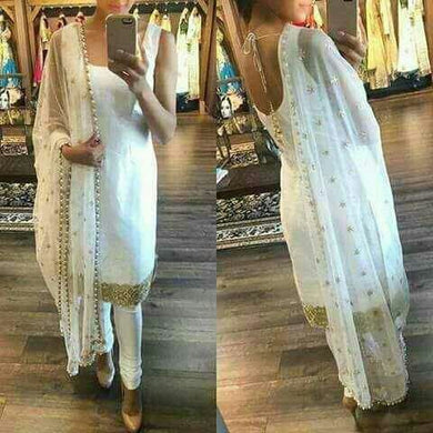 White Banglori Stright Salwar Suit