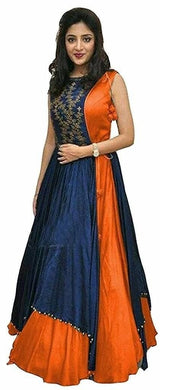 Blue And Orange Color Long Anarkali Suit
