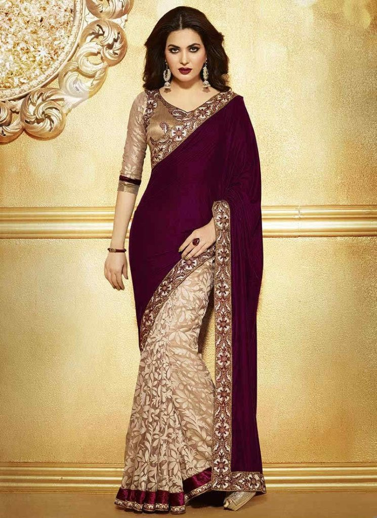 177af61f73 Maroon Color Embroidered Velvet Saree With Blouse – SAREEU™