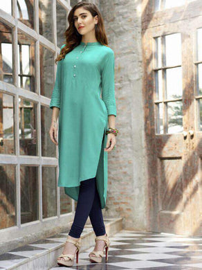 Summer Special Heavy And Levish Plain Semi Stitched Parrot Green Reyon Kurti