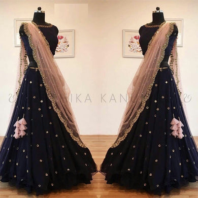 Attractive Navy_blue Georgette Embroidery Work Circular Lehenga Choli