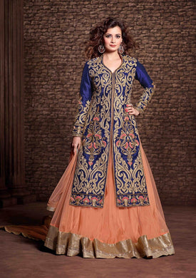 Blue Embroidery Work Cotton Satin Sharara Style Salwar Suit