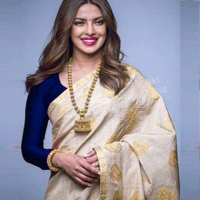 Cream Zarna Silk Embroidery Work Saree