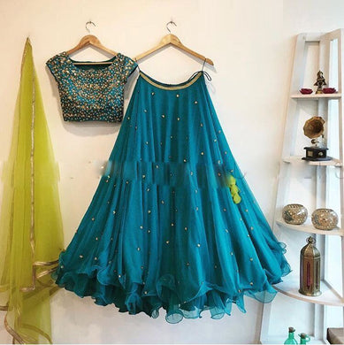 Attractive Turquoise Color Georgette Embroidery Work Lehenga Choli